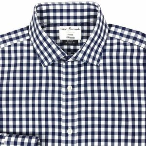 TM Lewin Mens Navy Blue Gingham Fitted Long Sleeve